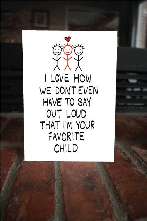 Funny Mother's Day Card - Your favorite child, cute card for mom, funny mom card, card for dad, witty card, sarcastic card, mothers day joke