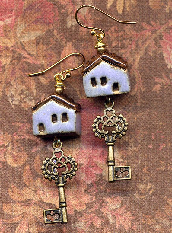 Tiny Miniature Terracotta Clay Houses Earrings, Unique 18 K Gold Filled Earrings, Key from your home Lavender and brown one of a kind Clay Houses Earrings, New line by AnnaArt72 Unique Little Clay House Earrings made with >>>>> 18 K gold filled ear wire Miniature Terracotta handmade Clay Houses ( size app 12 mm * 10 mm *8 mm) miniature antique gold key charms Lovely one of a kind Purple Key Little House Earrings, this 18 K gold filled Home Sweet Home Earrings are 2.25, pre...