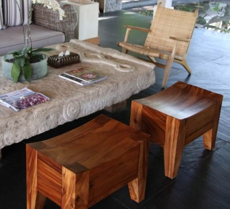 The Parallel Stool brings a Balinese feel to any living room and the stained wood helps warm any room - Complete Pad
