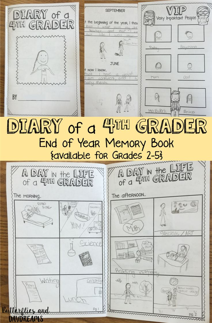 Diary of a 4th Grader End of Year Memory Book {available for grades 2-5} inspired by the Diary of a Wimpy Kid series by Jeff Kinney
