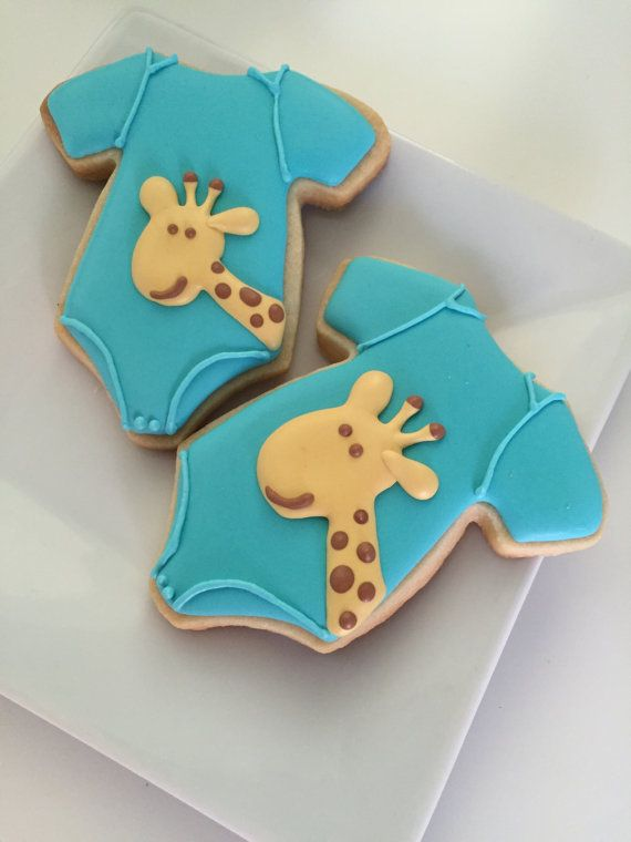 This listing includes: 12 Onesies with giraffes  IF YOU WOULD LIKE ANY PARTICULAR COLOR THEMES ON THE COOKIES, PLEASE INCLUDE IN THE PURCHASE