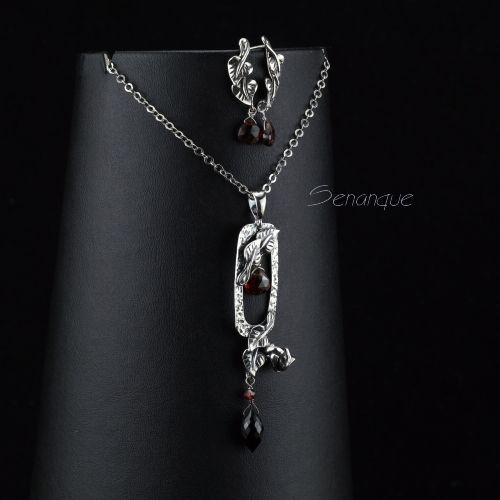 srebrna biżuteria z granatem i onyksem - Senanque