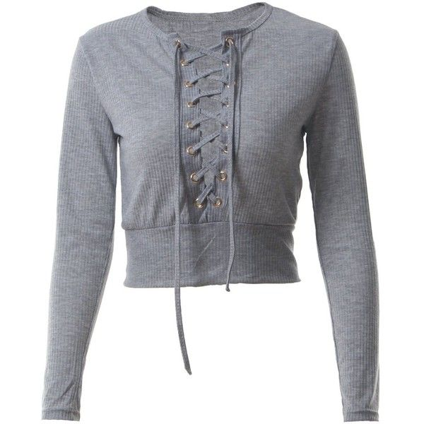 Lace-up Long Sleeves Crop Top ($12) ❤ liked on Polyvore featuring tops, t-shirts, grey long sleeve t shirt, lace up crop top, long-sleeve crop tops, crop tops and grey t shirt