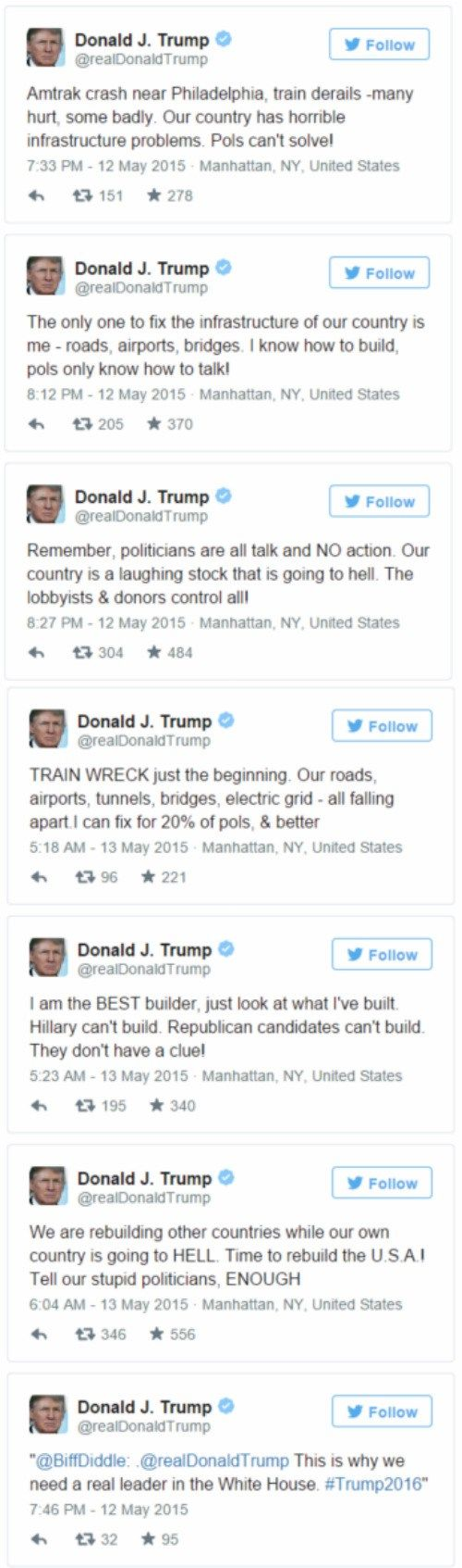 There is No National Tragedy or Disaster That Donald Trump Won't Use to Promote Himself. That second tweet has since been deleted from his main account, but that's everyone's favorite follically-challenged suit-wearing orangutan using the recent train crash in Pennsylvania as a talking point for his own political agenda. Donald Trump's Twitter Account Is the Gift That Keeps on Giving