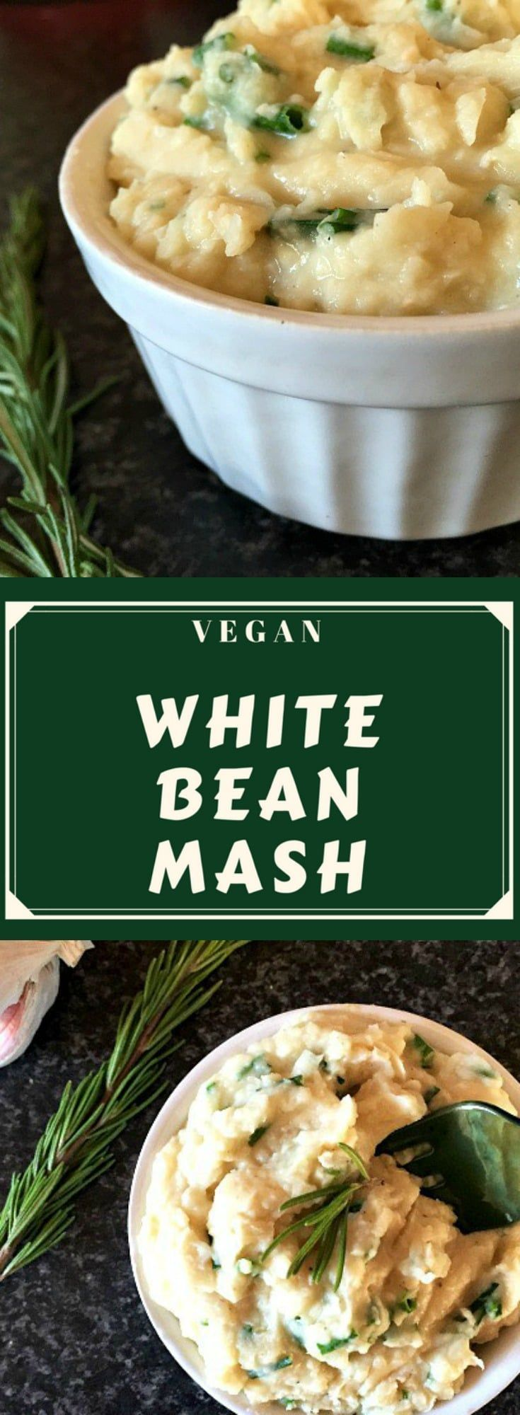 This vegan white bean mash with garlic, rosemary and chives makes a delicious side dish that is packed with protein and fibre and is low in fat. It is also a great alternative to the mashed potatoes, although, l must say, it is hard to choose between the two of them, as l like them both very much. #veganappetizers , #whitebeanmash, #beanmash, #veganrecipes