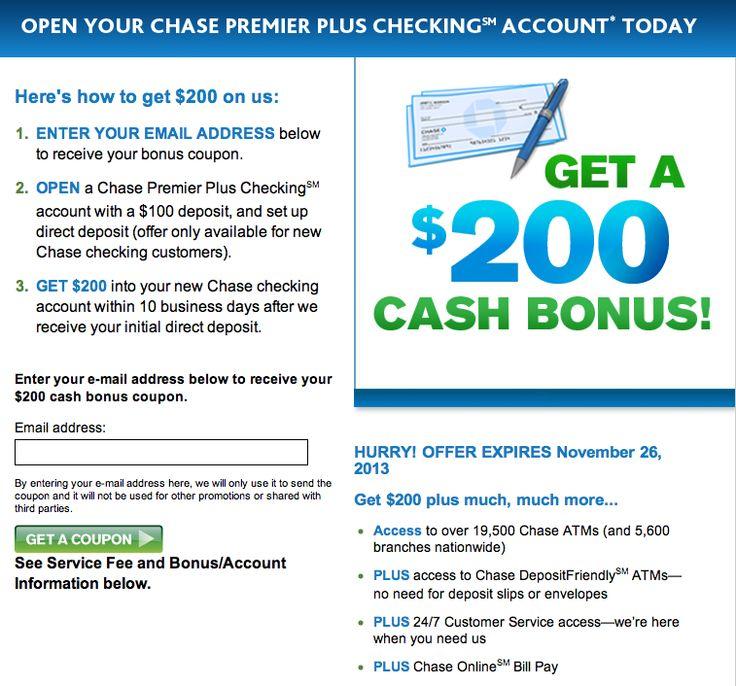 200 chase premier plus checking account bonus