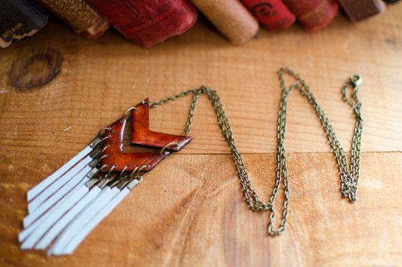 long collier sautoir ethnique pate polymère cuir par Rosepoudre