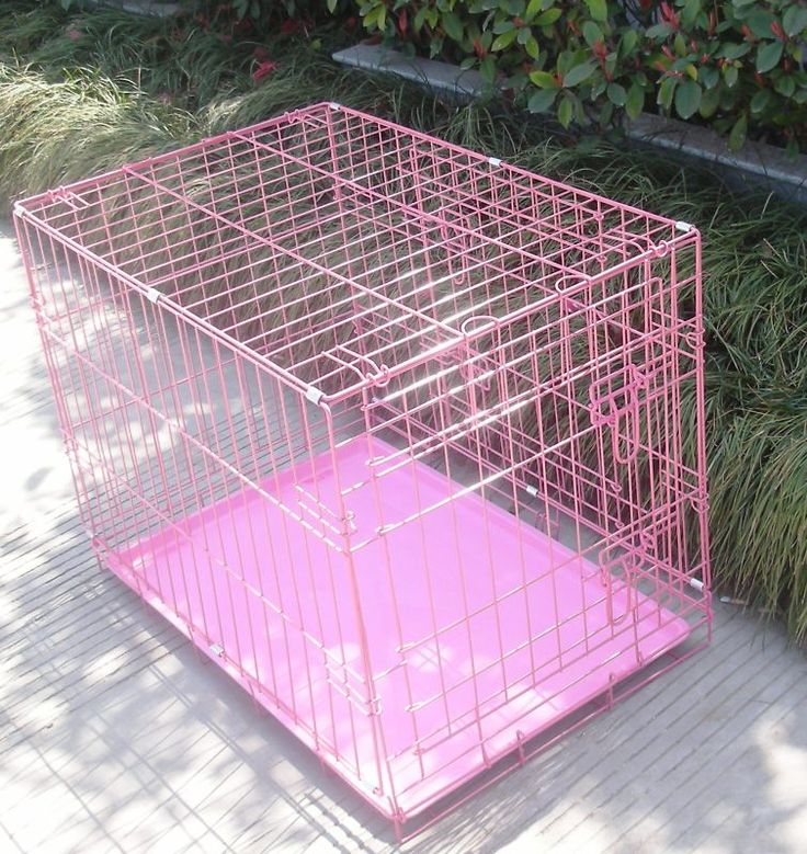 36″ Pink Pet Folding Dog Cat Crate Cage Kennel w/ABS Tray LC Like any wire cage, this cage is designed for well trained dog who will enjoy to stay inside, your dog can break out the cage and hurt himself if the pet is not well cage trained. We can not be responsible for the damage your dog create during and after he/she break out from the cage. http://house4pets.com/product/36-pink-wire-folding-pet-crate-dog-cage/