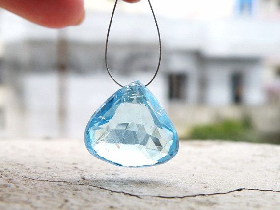 Sky Blue Topaz Briolette Heart Gemstone by