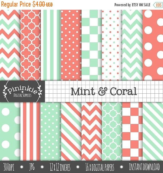 60% OFF SALE Mint and Coral Digital Paper, Coral Chevron Digital Paper, Mint Polka Dot, Diagonal Stripe, Instant Download, Commercial Use