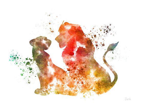"""Simba und Nala, The Lion King ART PRINT 10 x 8"""" Illustration, Disney, Mischtechnik, Home Decor, Kindergarten, Kind"""