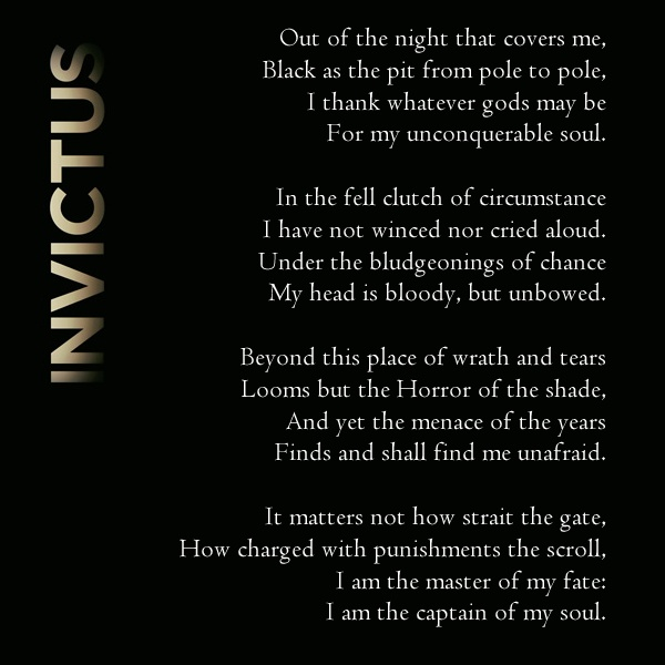 the critical reading and the william ernest henleys invictus a poem 'invictus' by william ernest henley is an uplifting poem typically quoted in  troubled times this video lesson will first look at this poem, then.