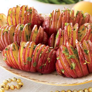 Accordion Potatoes. Directions: http://www.goodhousekeeping.com/recipefinder/accordion-potatoes-ghk1207