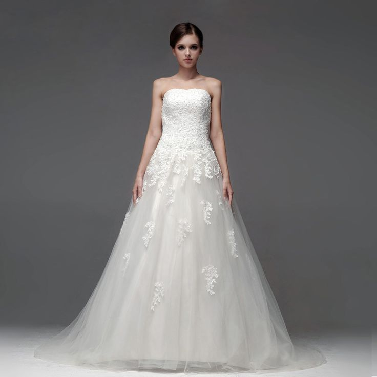 Strapless A-line pretty bridal gown
