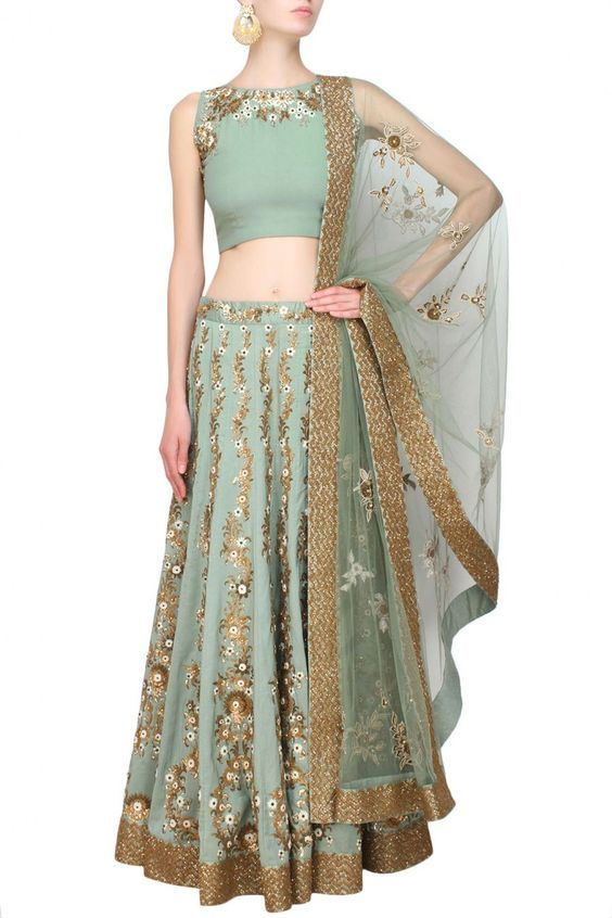 Green floral sequins and beads embroidered lehenga set - Joy Mitra