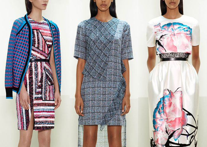Prabal Gurung – Pre Fall 2014-Unexpected Asymmetries – Brushed Stripes  - Oversized Placements  - Fractured Patterns – Bold Optical Geometrics – Inverted Colour Use