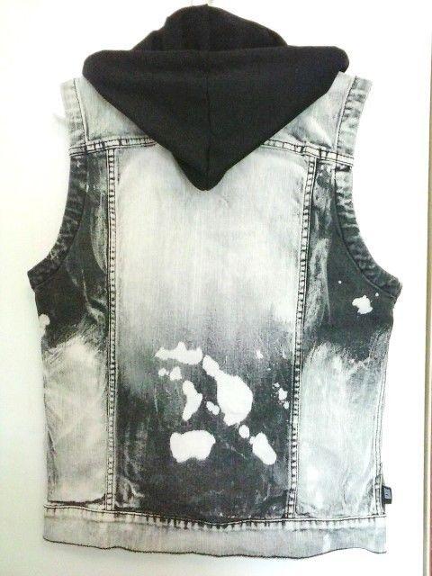 Rude Hot Topic Acid Washed Denim Black Hooded Vest Jacket Punk Men S