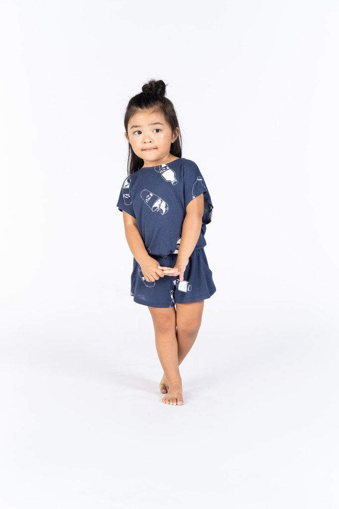 705197eb3 Girls Terry Romper with Japanese Soda Print. OMAMImini This chic and comfy  navy romper is perfect for kids going to the beach, playground or for a  casual ...