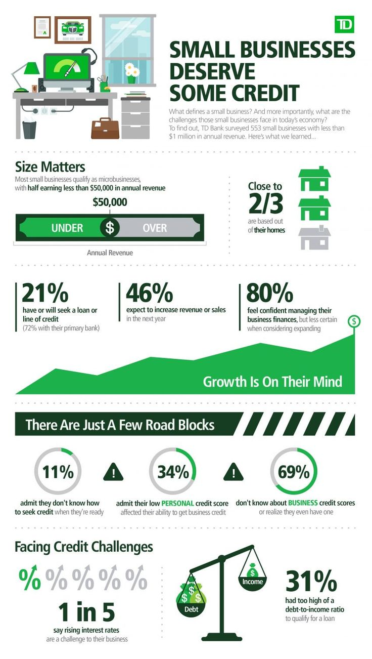 21 Percent of Small Businesses Will Seek a Loan or Line of Credit This Year (INFOGRAPHIC) Small business owners have money on their minds. A new survey by New Jersey-based TD Bank (NYSE:TD) reveals 21 percent of small businesses have sought or will seek a loan or line of credit. Most of them (72 percent) will approach their primary bank. Other Findings from the 2017 TD Bank Small Business Month ...