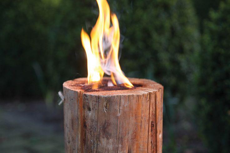 Esschert Design FF105 Swedisch torch. Wooden fire block.
