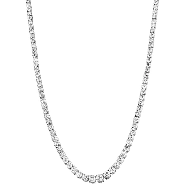 Couture Graduating Tennis Necklace in 18 Karat White Gold