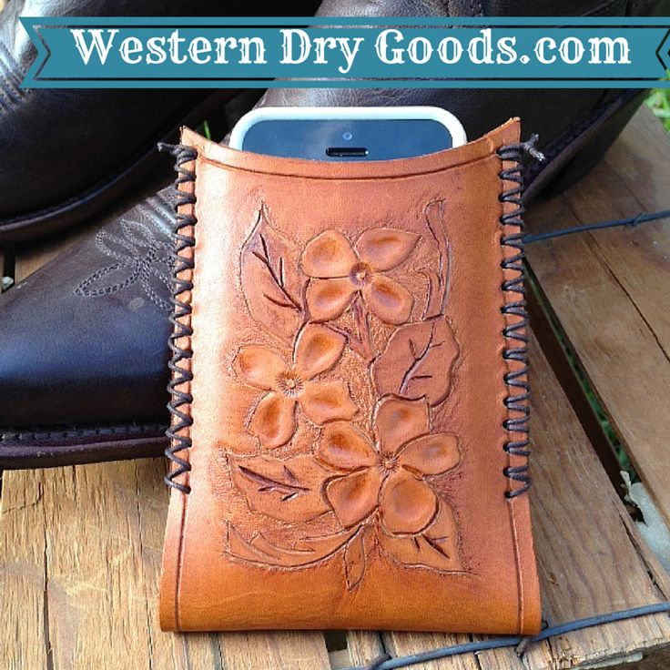 Leather iPhone Holder with custom tooling on sale at Western Dry Goods.com.