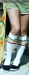 RocknSocks Go Team Rasta White Cotton Striped Knee High Socks