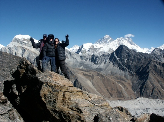 Isabel, Beth and Chris on Gokyo Re 5450m