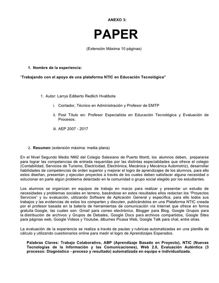 paper-plataforma-ntic-nm2-colegio-salesiano-puerto-montt-presentation by Larrys Redlich via Slideshare