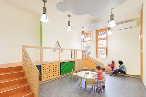 The Froebel Early Learning Centre in Melbourne designed by Steffen Welsch | clouds hang in the 'sky'
