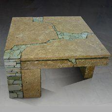 журнальный столик  из камня с врезной мозаикой. 1000х1000х500.  Саяногорск 2007