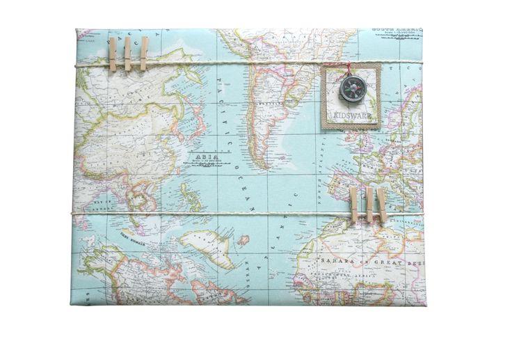 Memobord wereldkaart voor een kinderkamer. www.kids-ware.nl #kidsroom #maps