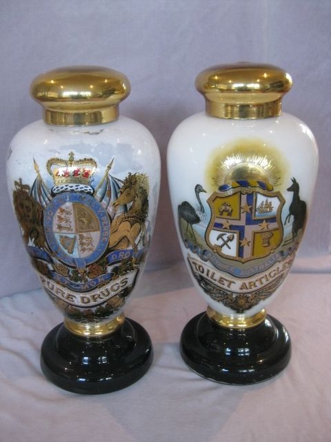 A rare pair of Pharmacy specie jars with the British and Australian coat of arms. Circa 1890 Height 23 ""