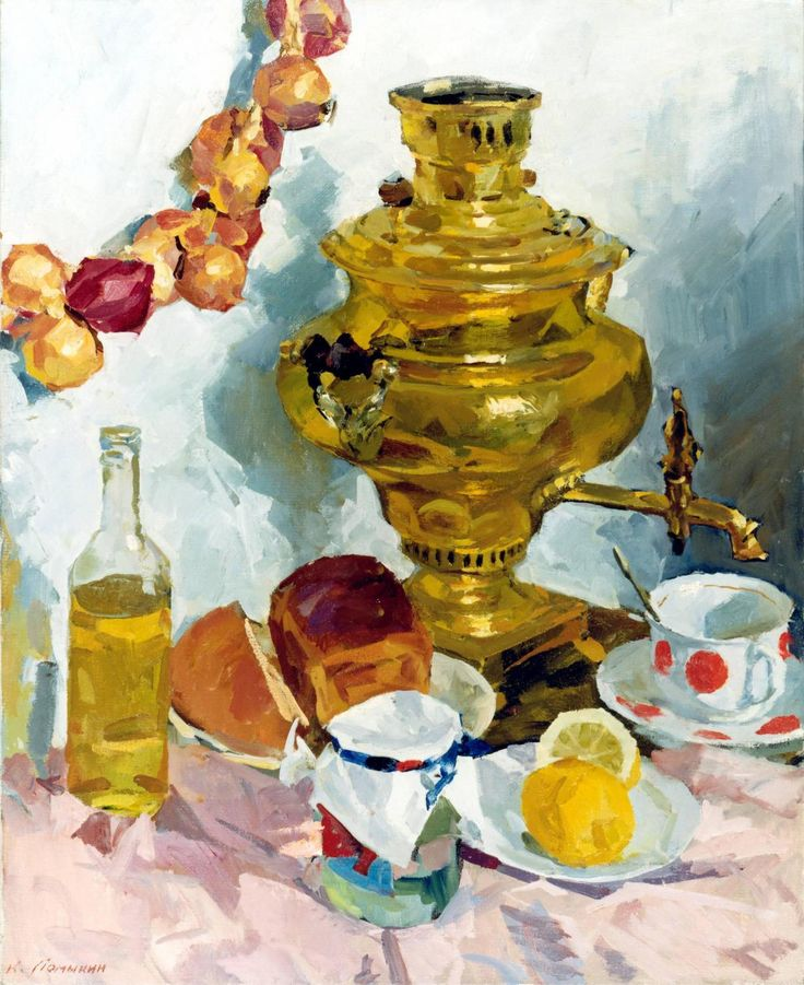 Still Life with Samovar | From a unique collection of still-life paintings at https://www.1stdibs.com/art/paintings/still-life-paintings/