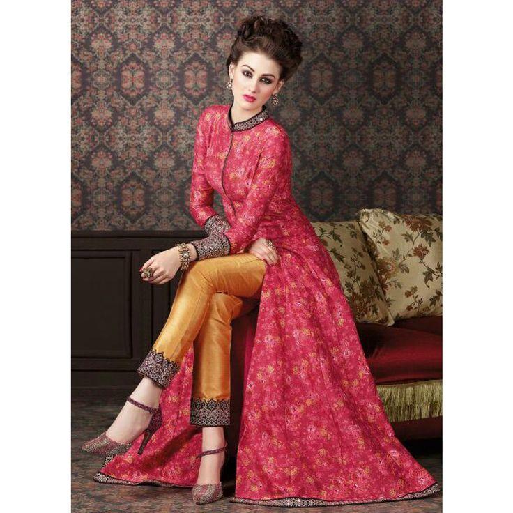 Buy Red Digital Floral Print Designer Suit - Online Women Ethnic Wear at…