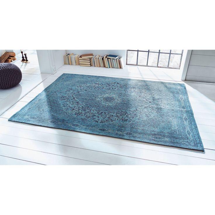 MIAVILLA Teppich Tabriz, Blau, 170 x 240 cm, 100% BaumwolleLiving MIAVILLA Teppich Tabriz, Blau, 170 x 240 cm, 100% Baumwolle