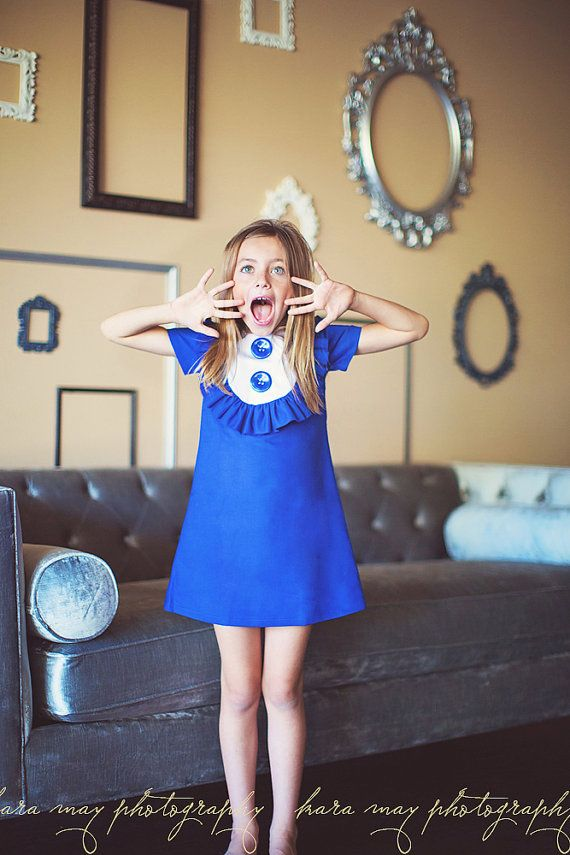 Retro 1960 S Style Royal Blue Layla Dress With Bib And Ruffle Children Clothing Kids Outfits Girls 1960s Fashion Kids Outfits