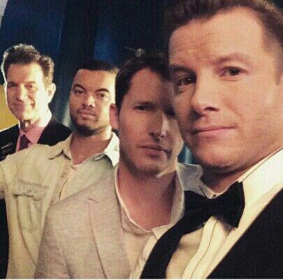 The boys from The Australian X Factor - Chris Isacks, Guy Sebastian,  James Blunt and Host Luke Jacobz.