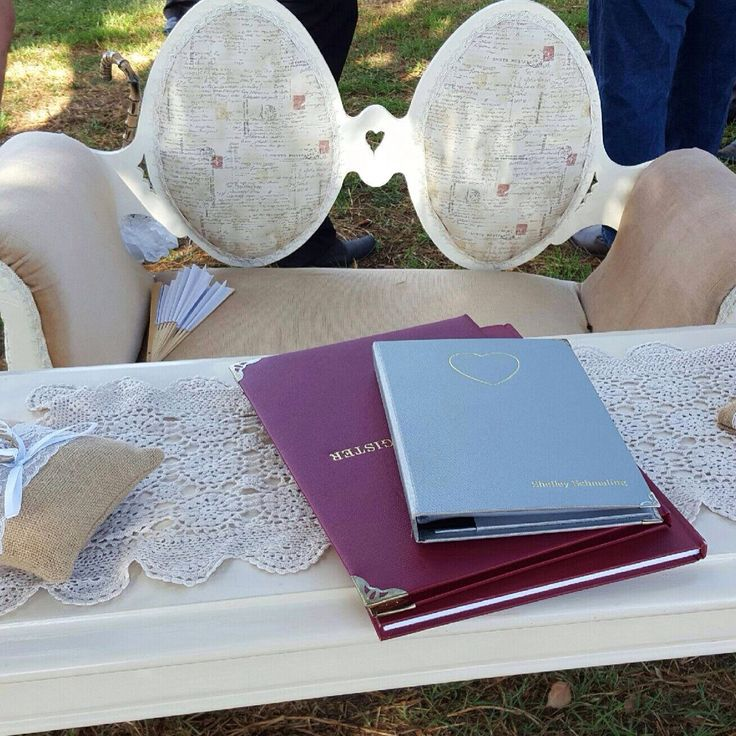 Vintage shabby chic love seat for ceremony registry signing table .home backyard wedding. P