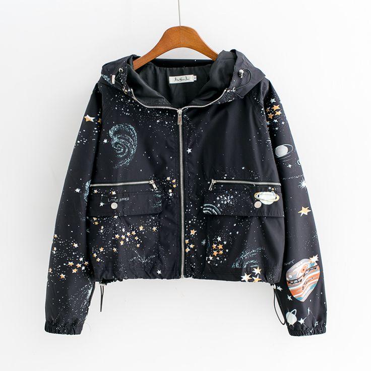 Harajuku universe galaxy Hoodie coat - Thumbnail 1