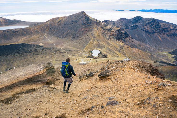 Tongariro Alpine Crossing Man Hiking With Emerald Lakes View