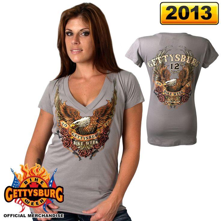 Official 2013 Gettysburg Bike Week Upwing Eagle Ladies Tee