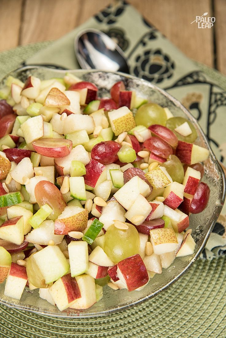 Apple And Grape Salad, a simple but delicious fruit salad perfect for breakfast, lunch, or dessert. #Paleo