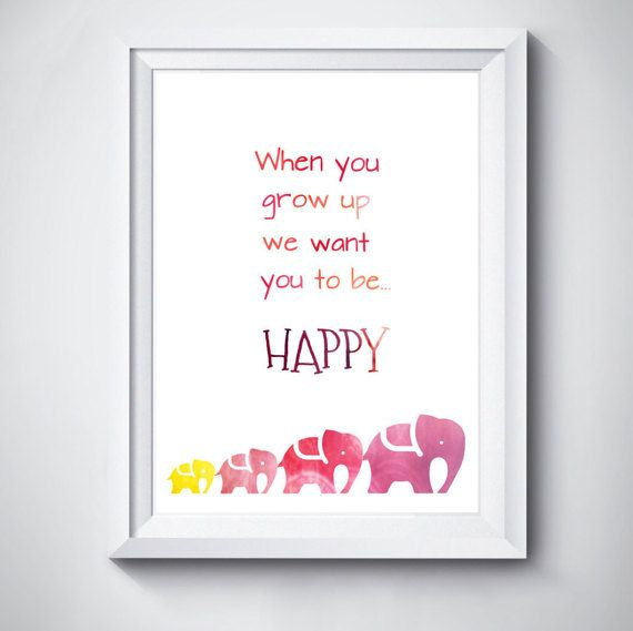 Baby nursery quote print elephant pink INSTANT by MonsterTots