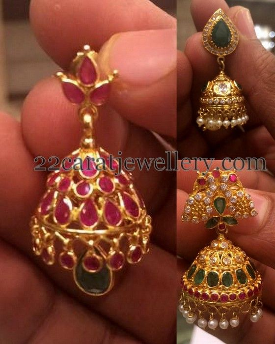 Jewellery Designs: 12 to 20 Grams Simple Jhumkas