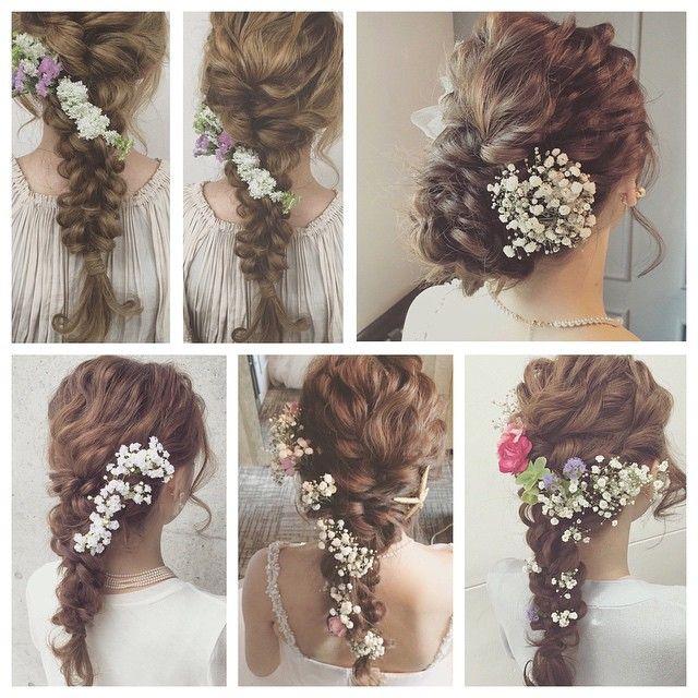 生花は本当に素敵です♡ @lily.yuudai #ウェディング#ウェディングドレス#ブライダル#花嫁#生花#カスミソウ#東京#ヘアアレンジ#ヘアメイク