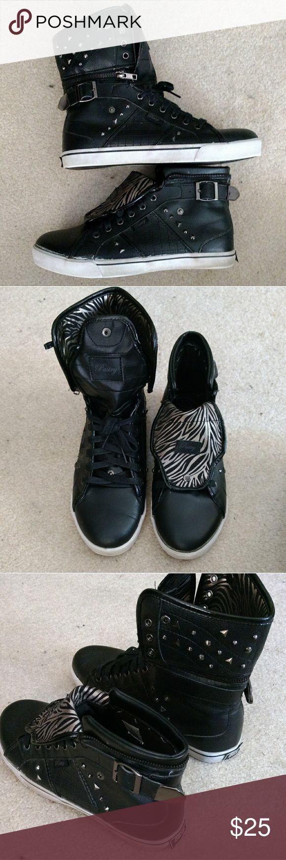 Black Convertible Pastry Hi-Top Sneakers size 9.5 Dance-inspired look. Tongue folds down and buttons, extra hi-top piece zips off or folds down. Gold and black zebra stripes on inside. Worn only a couple of times, soles are the only thing that show it, everything else is as it came. Pastry Shoes Sneakers