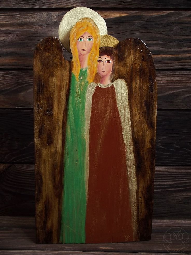 Two angels handpainted on wood, guardian angel