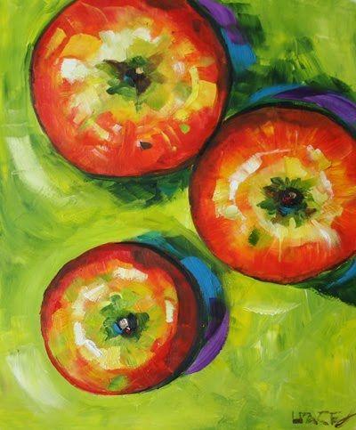 'Three Apples' Fruit Art, Apple Oil Painting by Texas ...