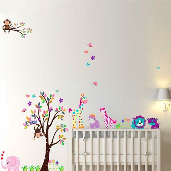 Sticker for kids room picture more detailed picture about monkey elephant lion tiger animal wall stickers for kids room wall art home decorative sticker